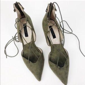 Zara Olive Lace Up Heels